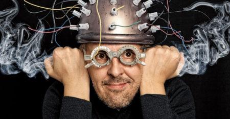Crazy inventor with helmet